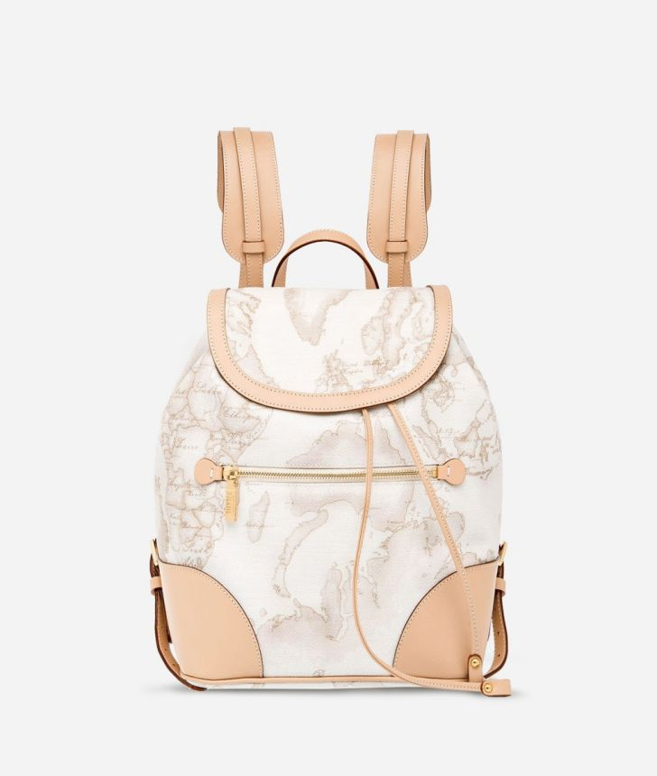 Geo White Backpack with leather corners,front