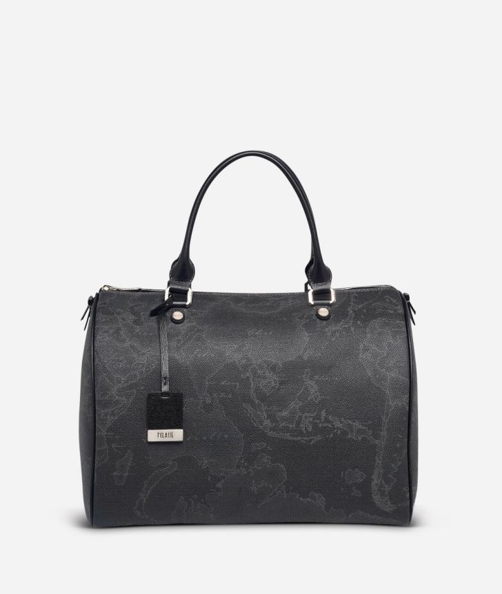 Geo Black Large Boston bag,front
