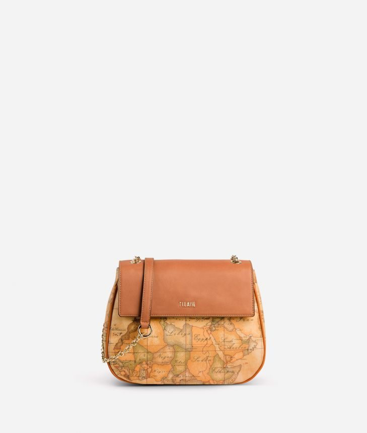 Geo Classic Mini bag with leather flap,front