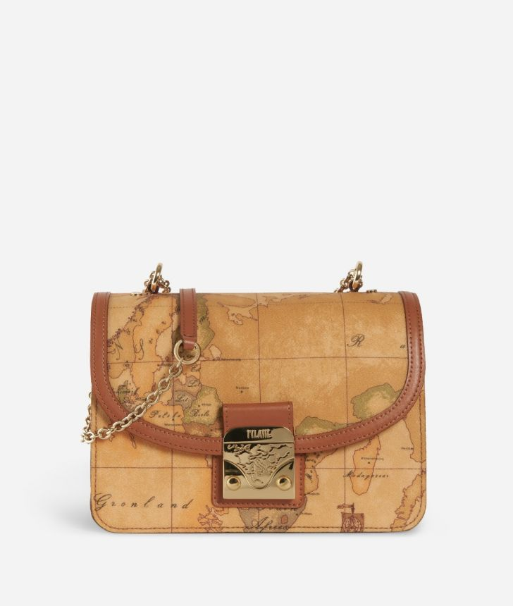 Geo Classic Crossbody bag with snap closure,front