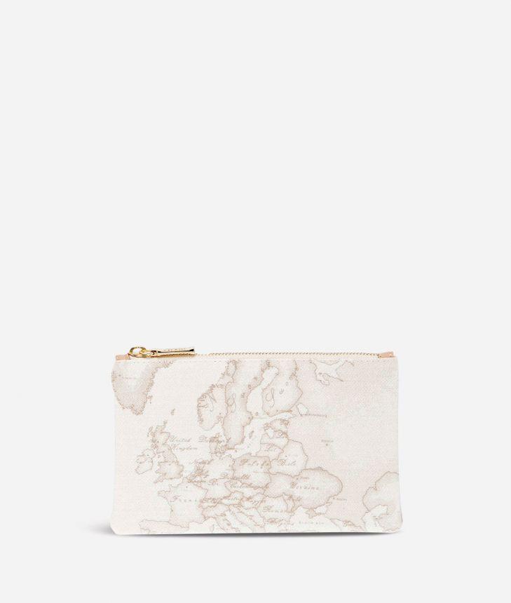 Geo White Medium rectangular pouch,front