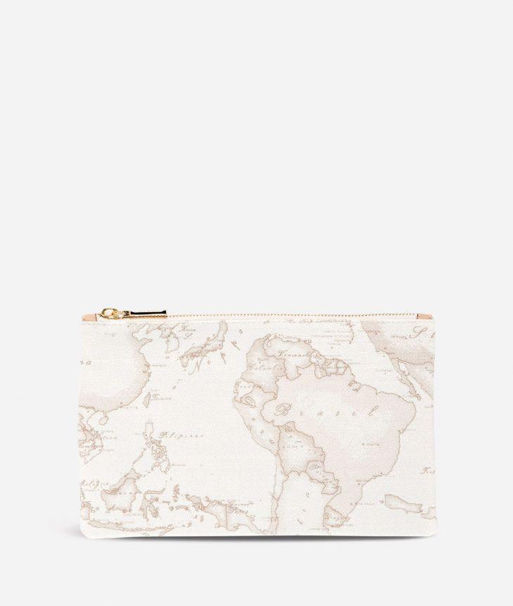 Geo White Envelope Clutch Bag,front