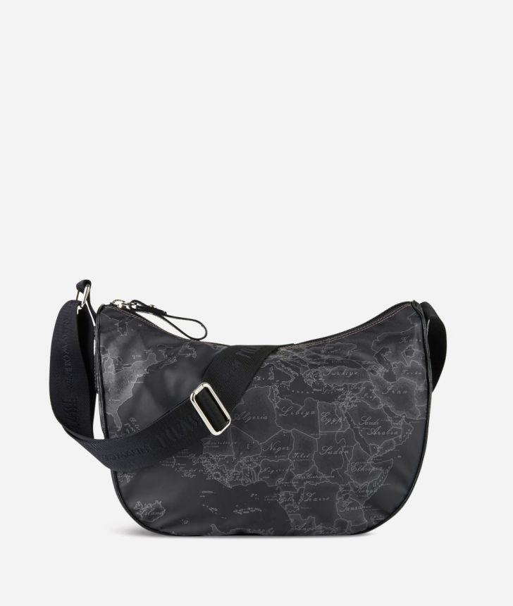 Geo Soft Black Medium half-moon handbag,front