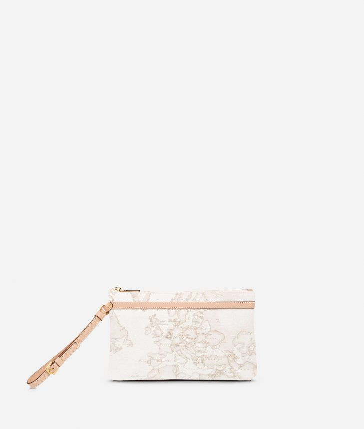 Geo White Medium wristlet clutch,front