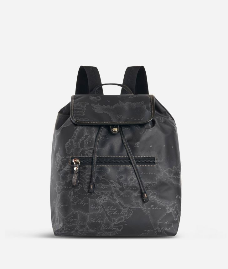 Geo Soft Black Backpack with front pocket,front