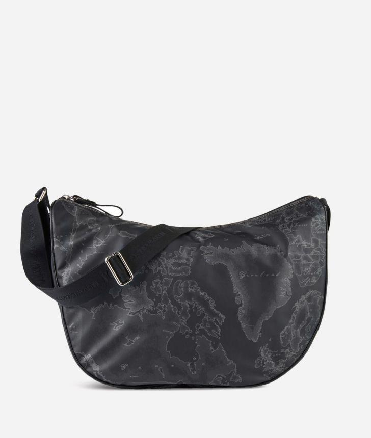 Geo Soft Black Large half-moon bag,front