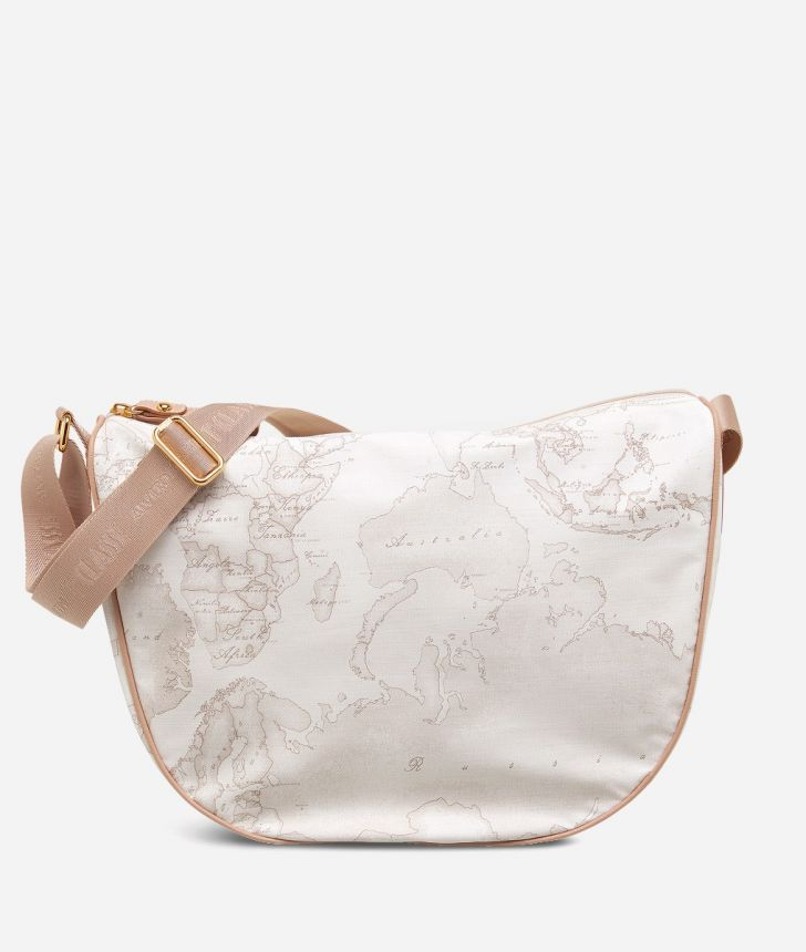 Geo Soft White Medium half-moon handbag,front