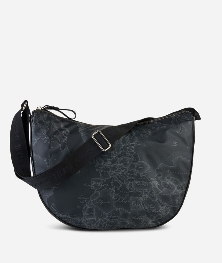 Geo Soft Black Large half-moon bag,front
