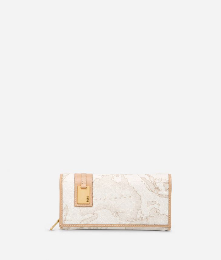 Geo White Large wallet,front