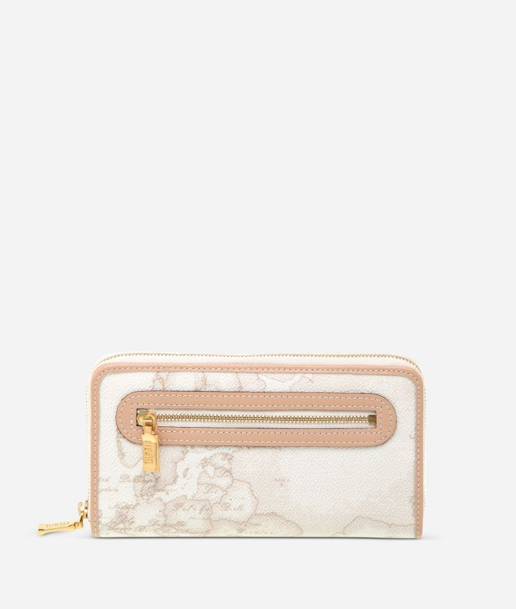 Geo White Large zipped wallet,front