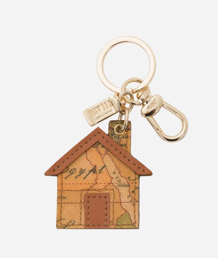 Geo Classic House-shaped keychain,front