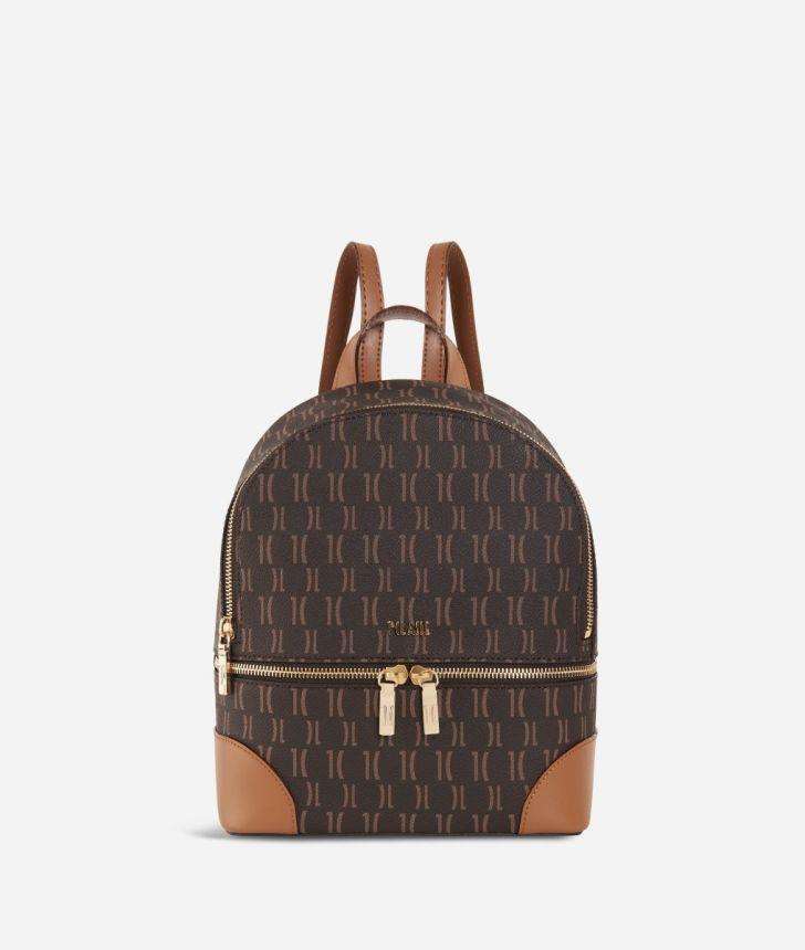 Monogram Mini Backpack Dark Buff,front