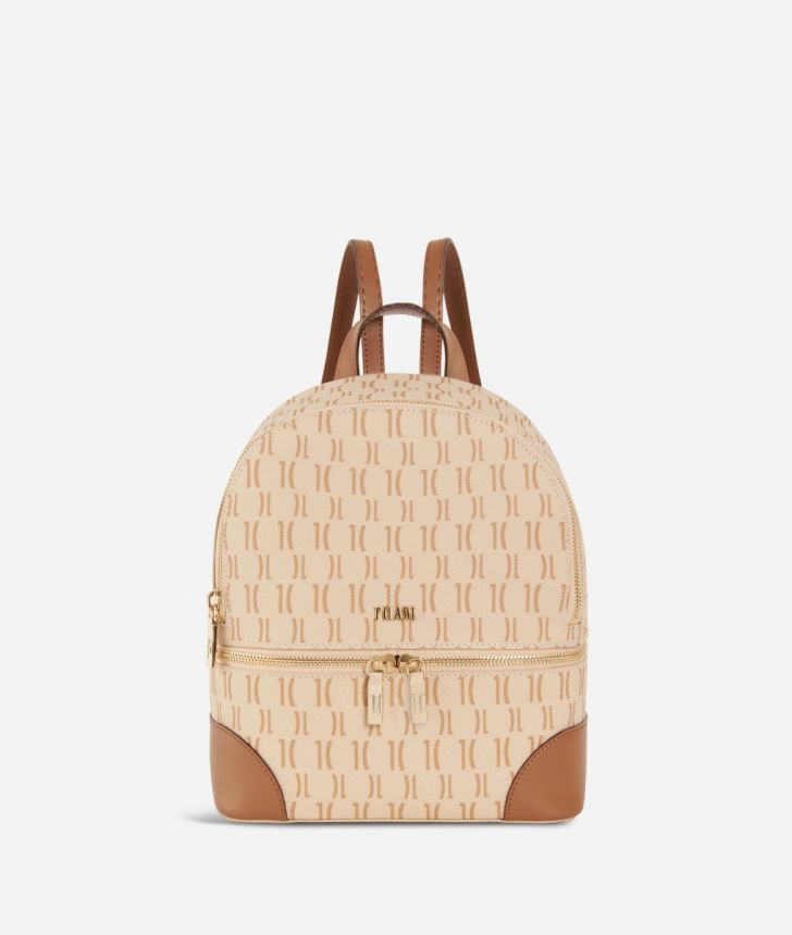 Monogram Mini Backpack Cream,front