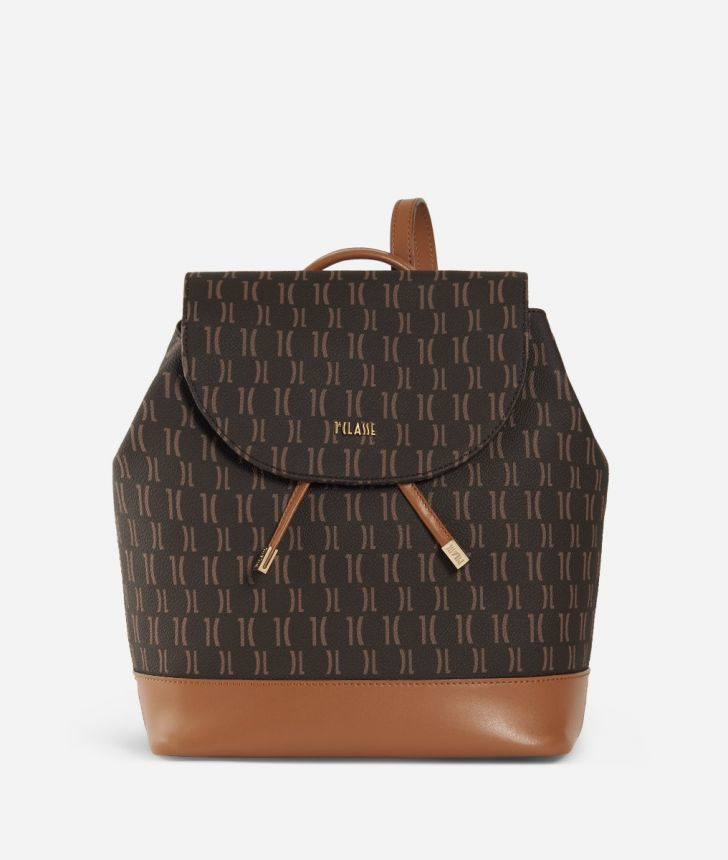 Monogram Backpack with flap Brown,front