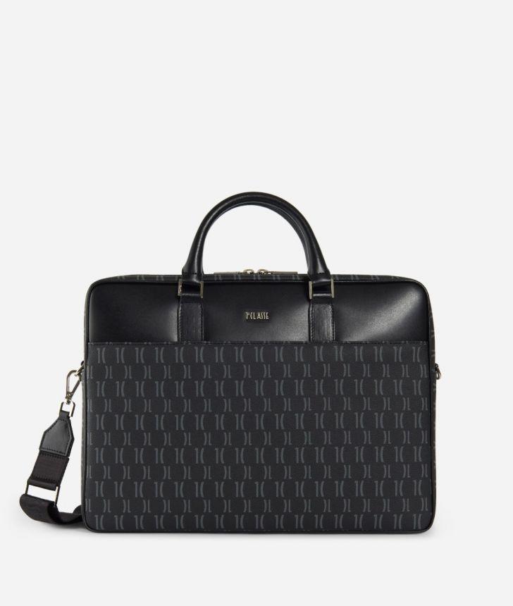 Monogram Briefcase with shoulder strap Black,front