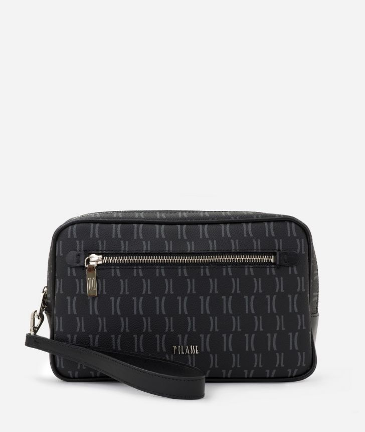 Monogram Beauty Case with handle Black,front
