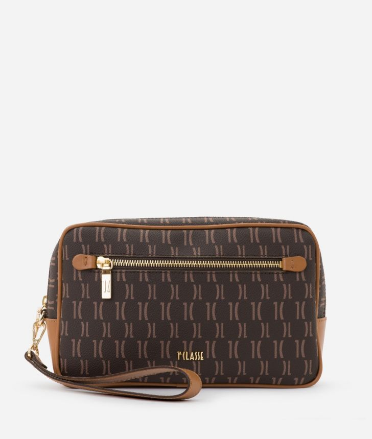 Monogram Beauty Case with handle Brown,front