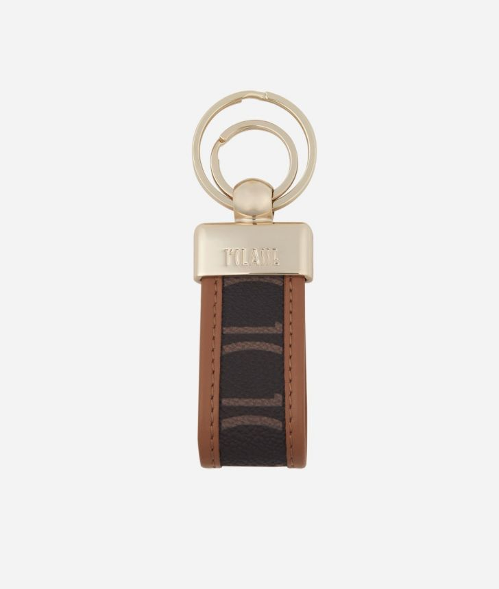 Monogram Keychain with double ring Brown,front