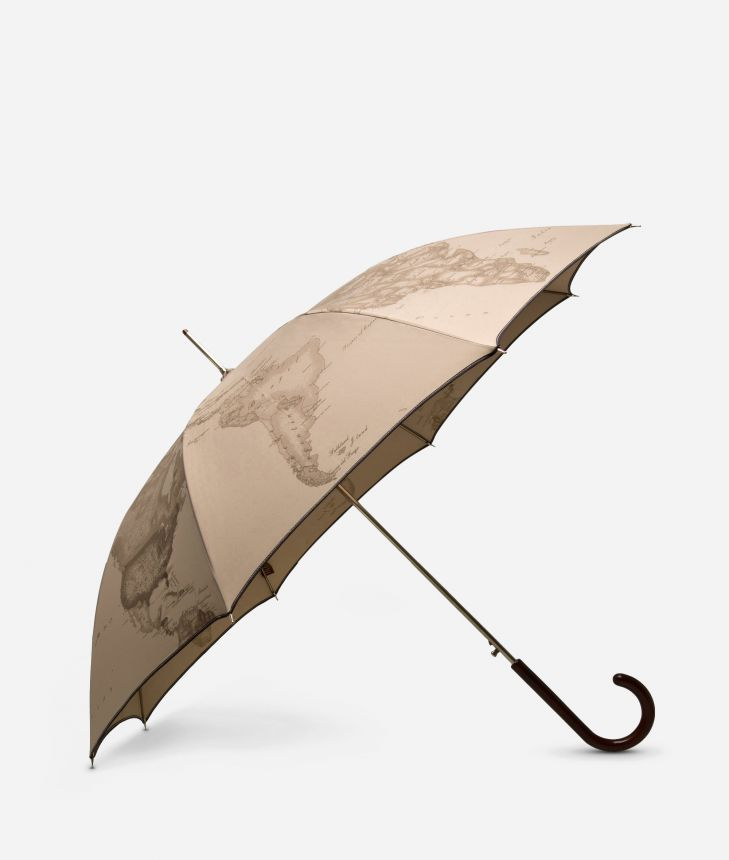 Automatic umbrella in printed Geo Tortora fabric,front