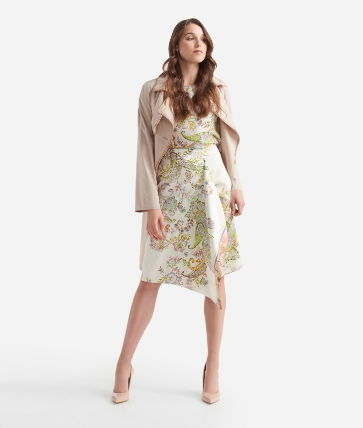 Gonna sarong in twill stampa Paisley Bianco,front