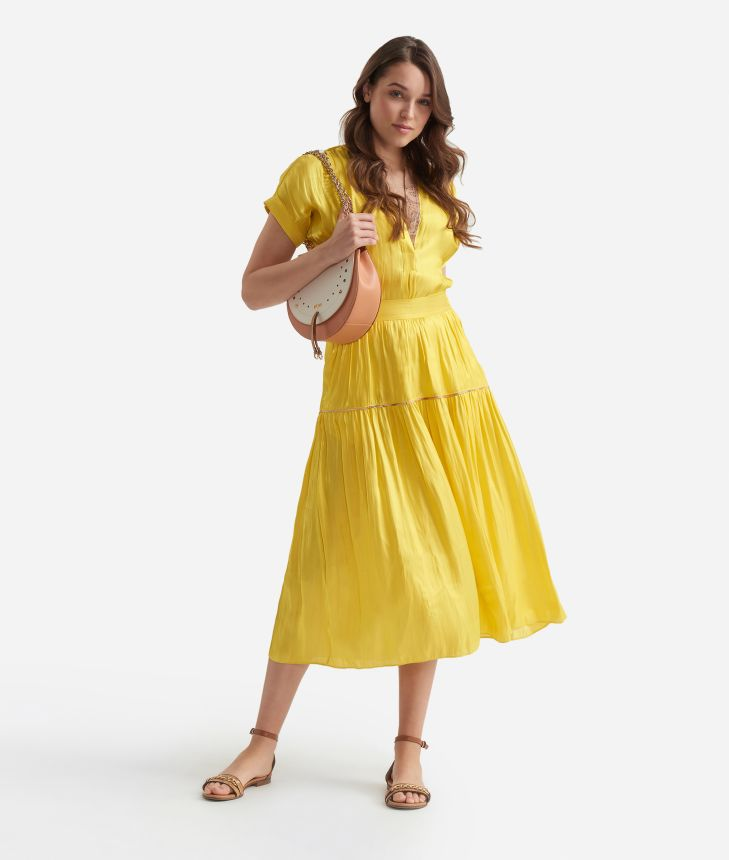 Flounce skirt  in smooth iridescent fabric Yellow,front