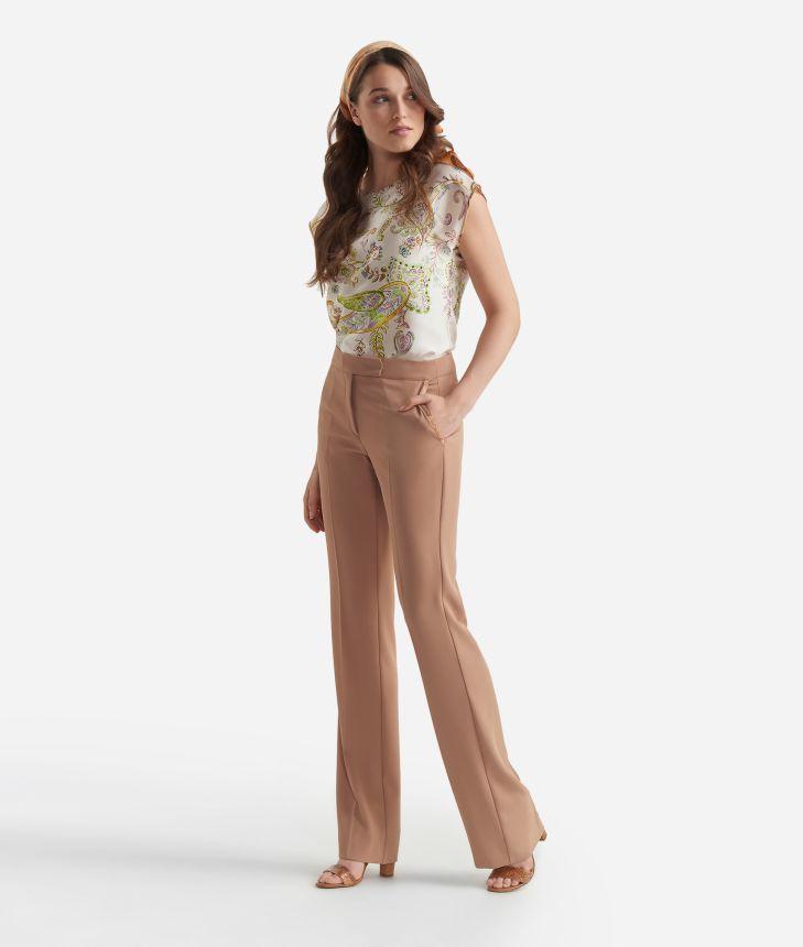 Pantalone a zampa  in tessuto fluido Beige,front