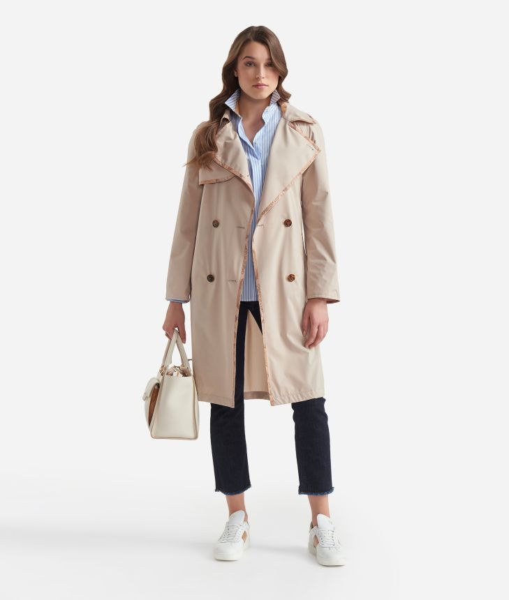 Double-breasted trench in micropoly fabric Beige,front