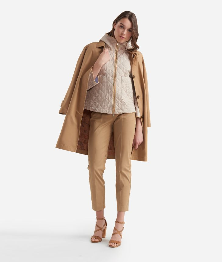 Quilted jacket in micropoly fabric Beige,front