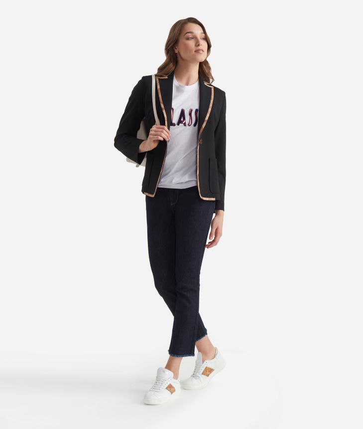 Jersey unlined blazer Black,front