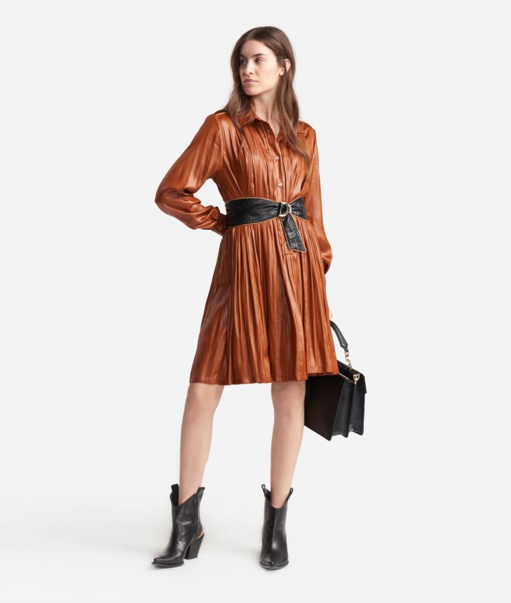 Chemisier dress in fluid fabric Brown,front
