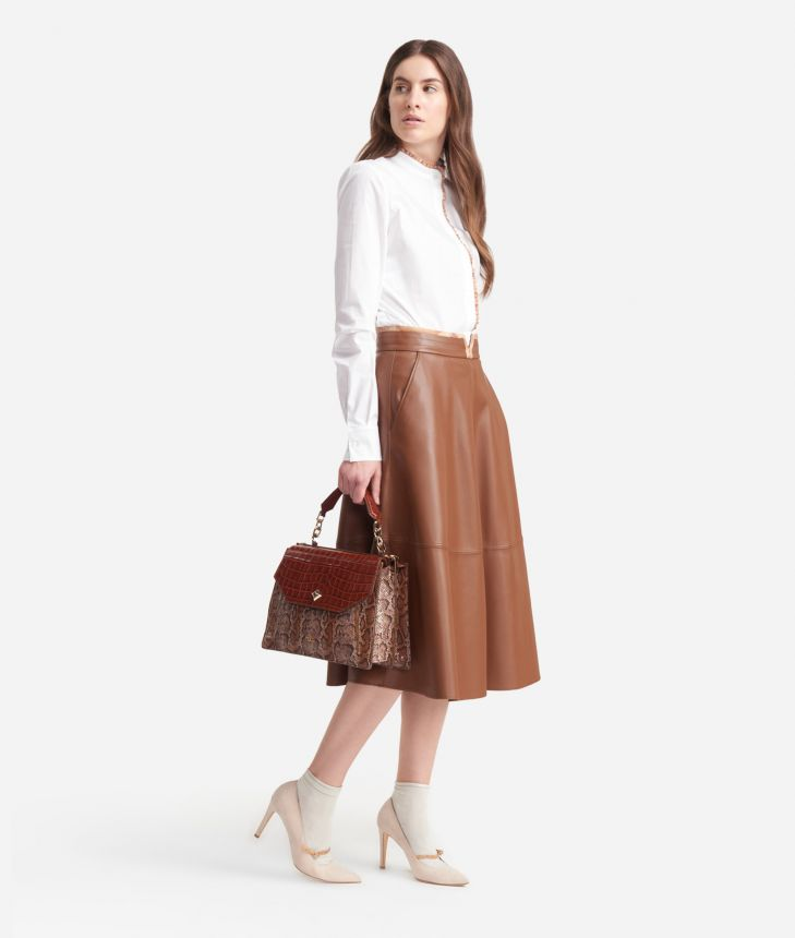 Poddle skirt in eco-leather Brown,front