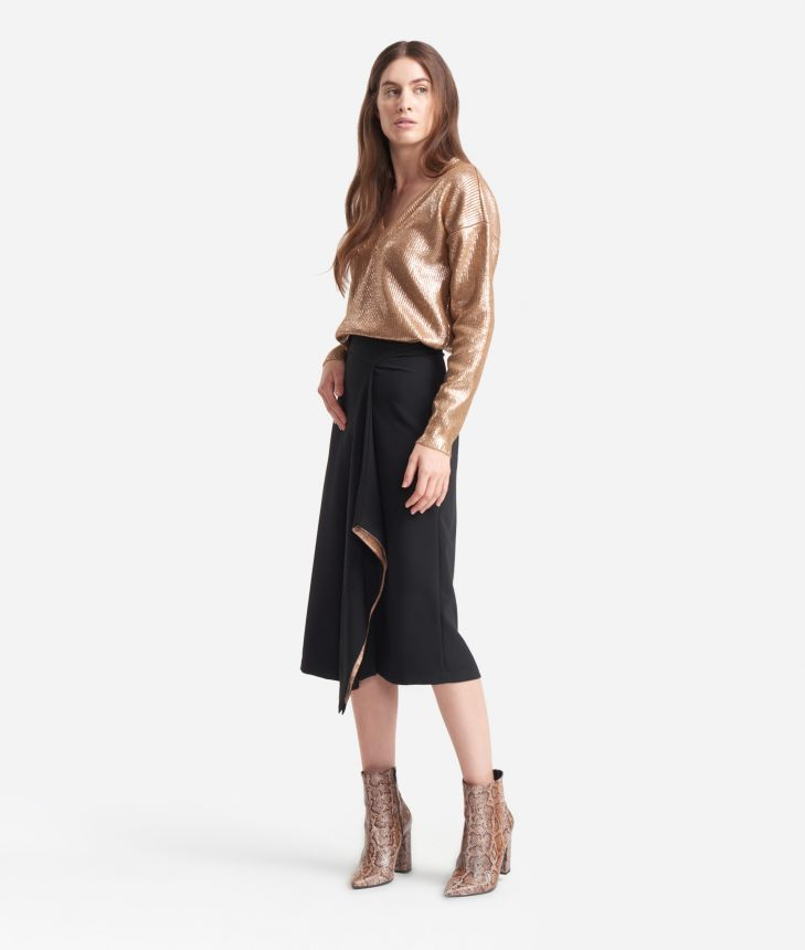 Asymmetrical skirt in stretch fabric Black,front