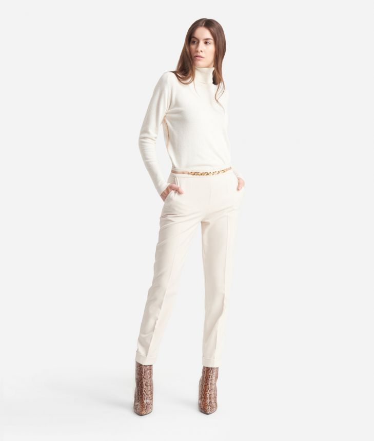 Straight Trousers in cavallery stretch fabric White,front
