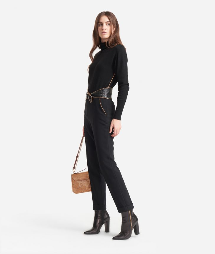 Straight Trousers in stretch fabric Black,front
