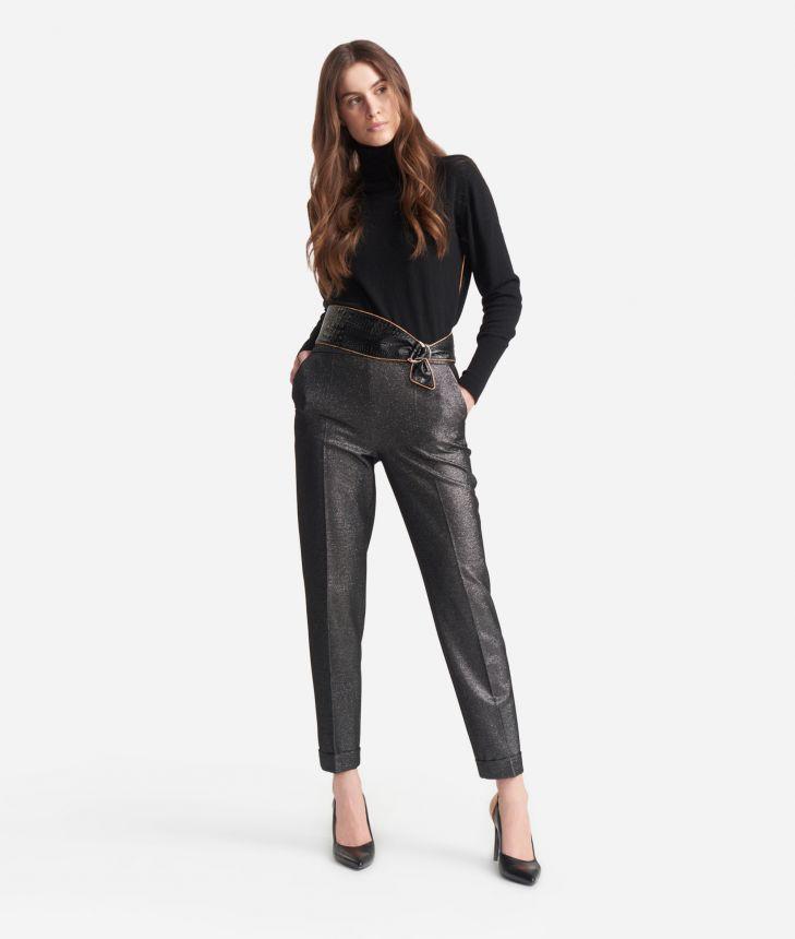 Pantalone con risvolto in levantina lurex Argento,front