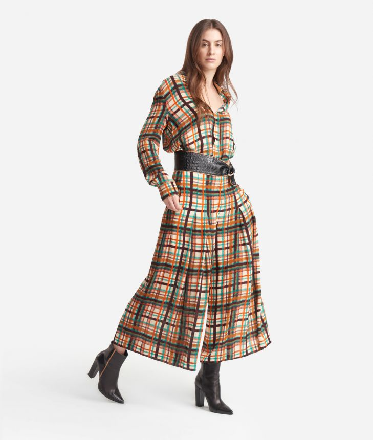 Divided skirt in satin effect viscose with tartan print Blue and Brown,front