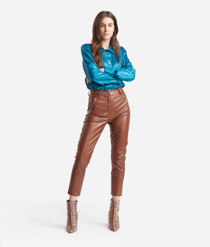 Slim-fit pants in mock-croc print eco-leather Brown,front