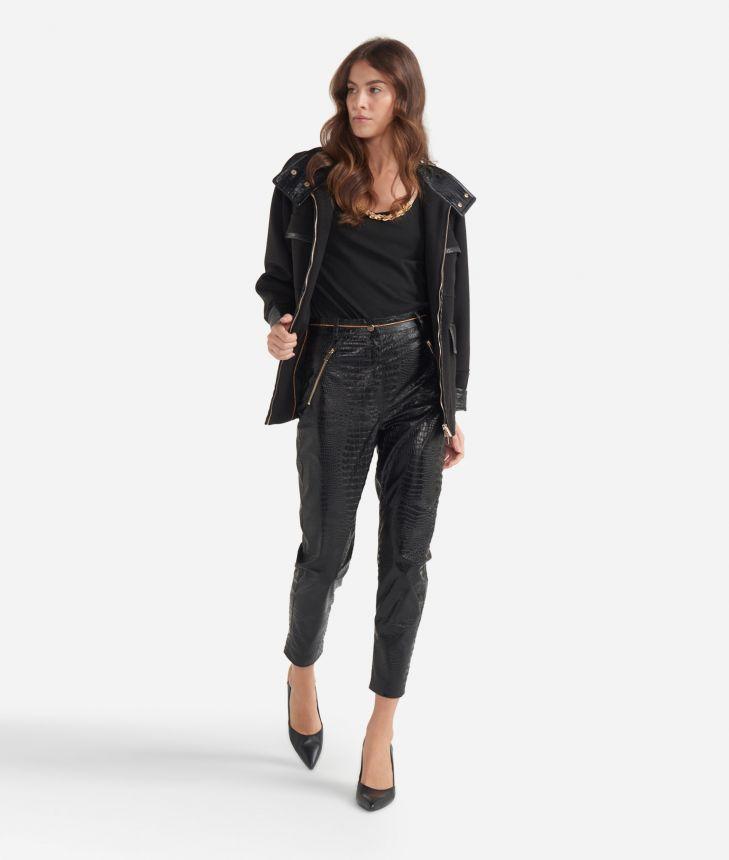 Slim-fit pants in mock-croc print eco-leather Black,front