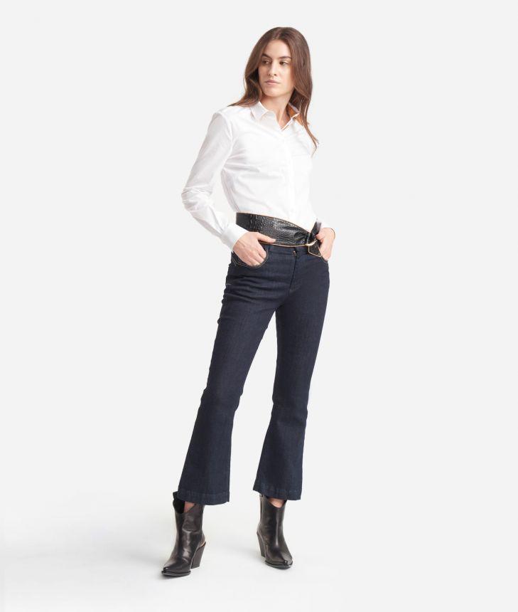 Camicia  in popeline di cotone stretch Bianca,front