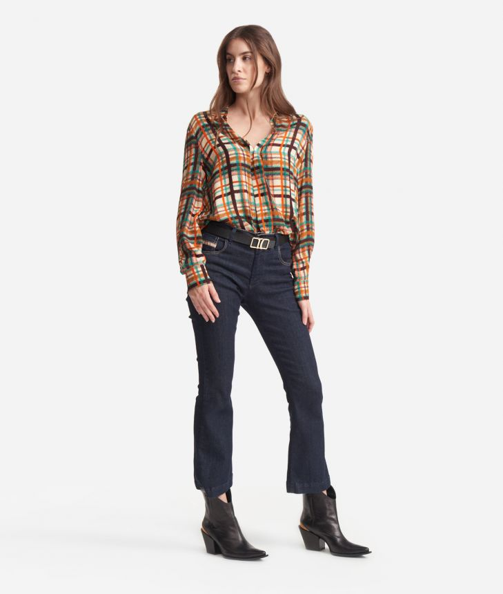 Flowing Shirt in satin effect viscose with tartan print Blue and Brown,front