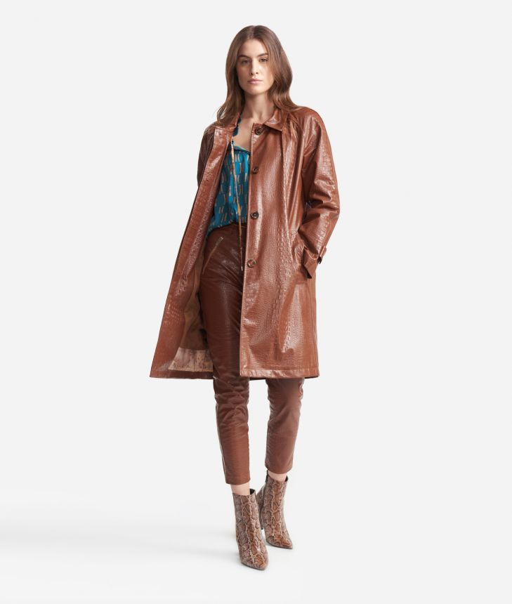 Trench in mock-croc print eco-leather Brown,front