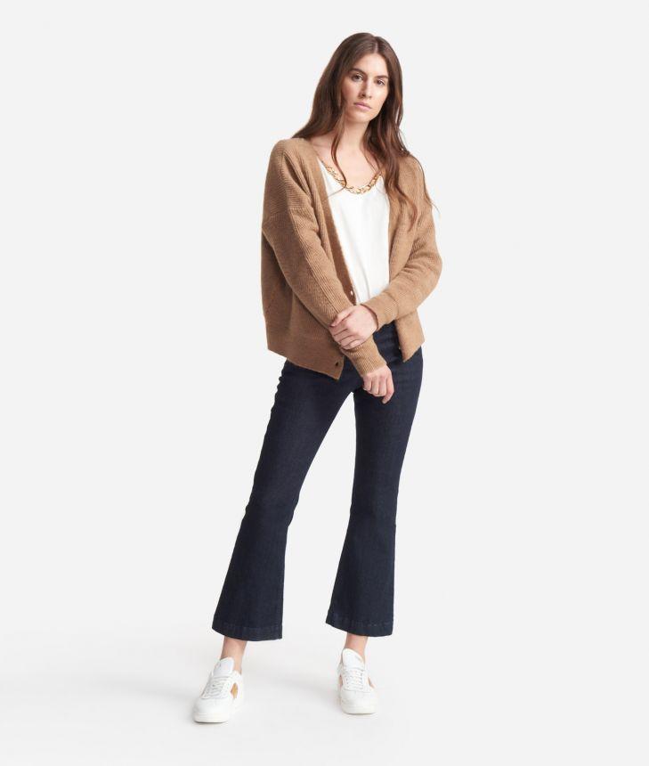 Cardigan in wool blend Beige,front