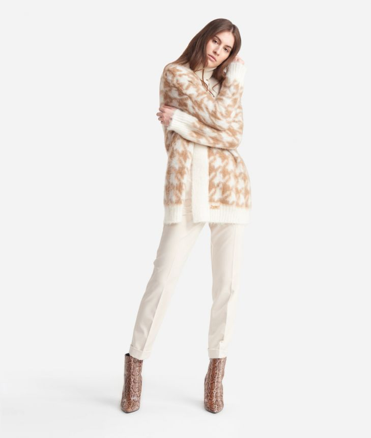 Cardigan in wool blend with macro pied-de-poule print White and Beige,front