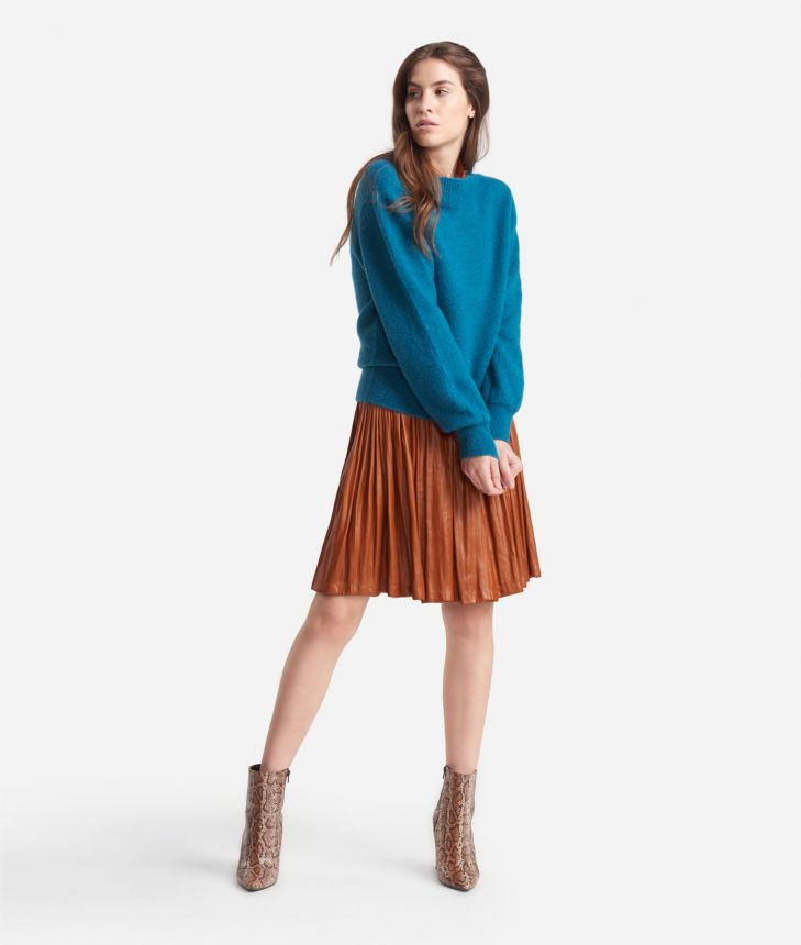 Crewneck sweater in mohair blend Blue,front