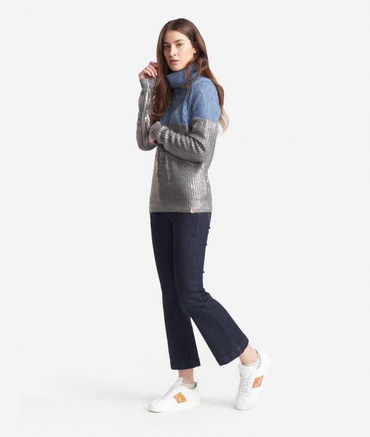 Turtleneck  in laminated wool Grey and Light Blue,front