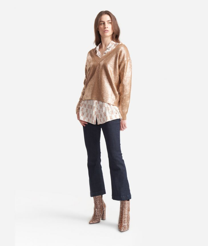 V-neck sweater in laminated wool Gold,front