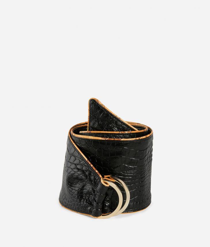 Bustier belt in mock-croc print eco-leather Black,front