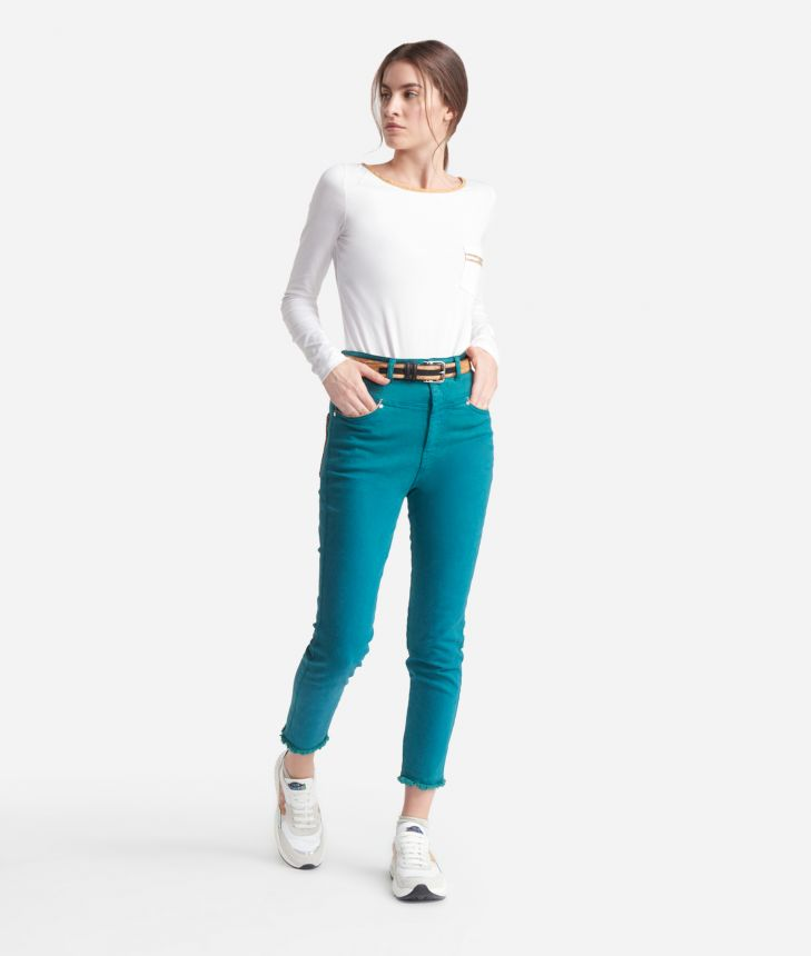 5-pockets skinny pants Green,front