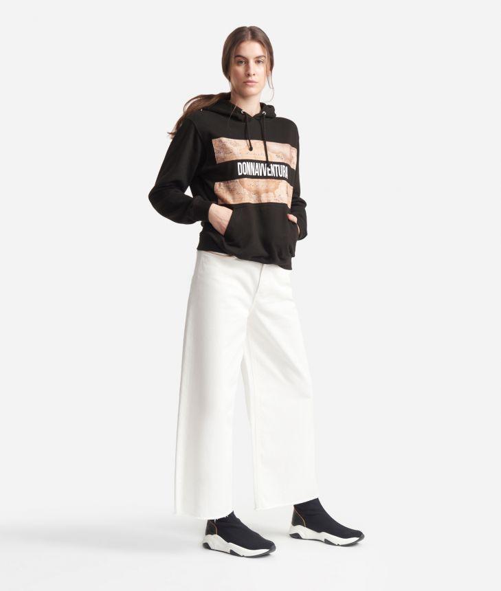 Sweatshirt with hood Black,front