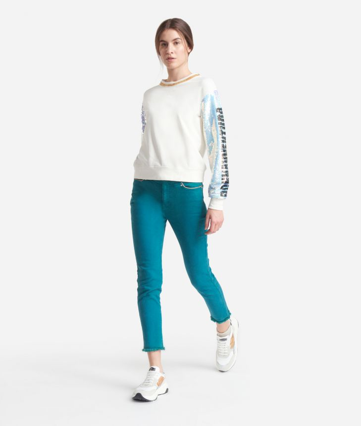Boxy sweatshirt with sequined sleeves White,front